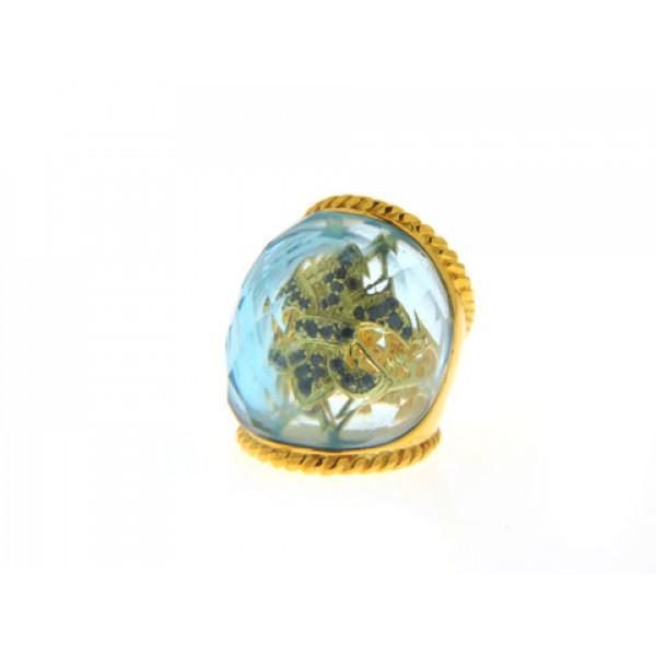 Δαχτυλίδι με Μπλε Τοπάζι Obsidian και Επιμετάλλωση Χρυσού