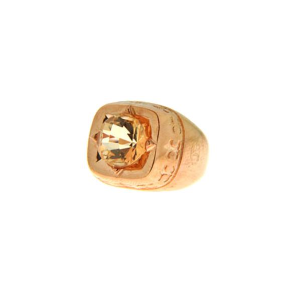 Δαχτυλίδι από Ροζ Επιχρυσωμένο Brass με Champagne Obsidian