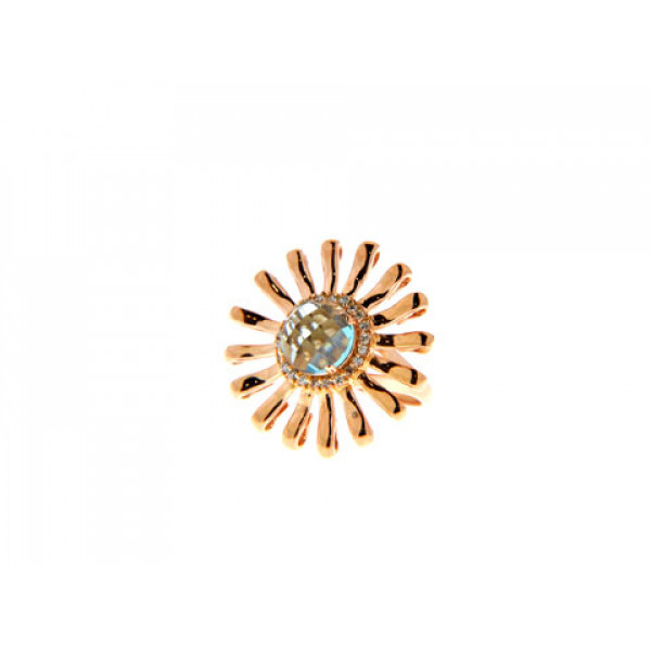 Δαχτυλίδι από Ροζ Επιχρυσωμένο Brass με Blue Topaz Obsidian