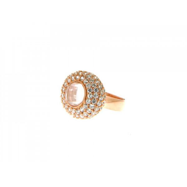 Rose Quartz Δαχτυλίδι σε Ροζ Επιχρυσωμένο Brass