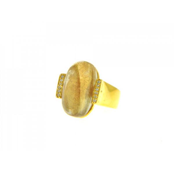 Δαχτυλίδι με Rutilate Obsidian σε Επιχρυσωμένο Brass