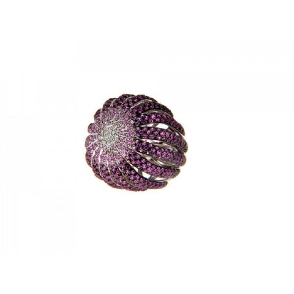 Δαχτυλίδι Palmiero με Ρουμπίνια, Ζαφείρια και Μπριγιάν σε Λευκό Χρυσό Κ18