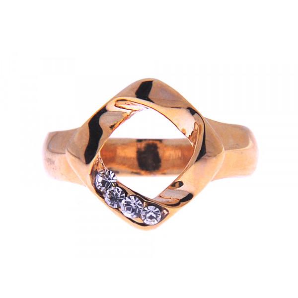 Minimal Δαχτυλίδι με Επιμετάλλωση Χρυσού και Λευκά Ζαφείρια