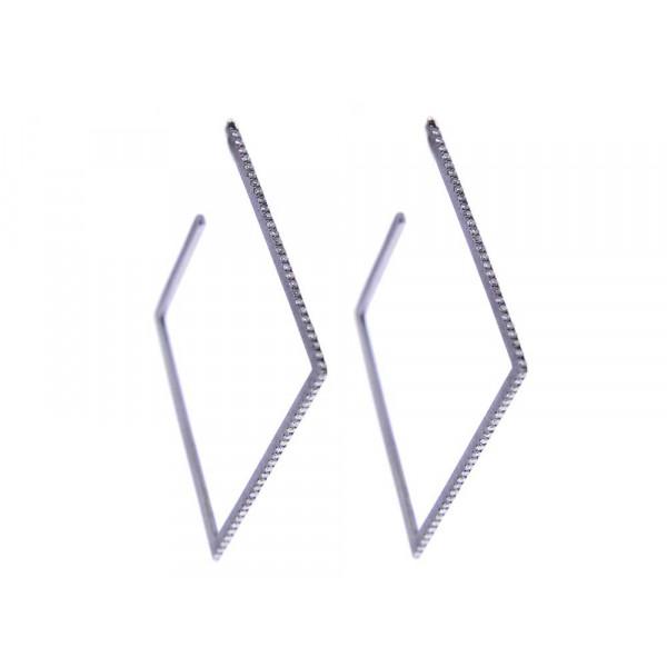Γεωμετρικά Σκουλαρίκια Κρίκοι με Διαμάντια σε Λευκό Χρυσό με Μαύρο Επιπλατίνωμα