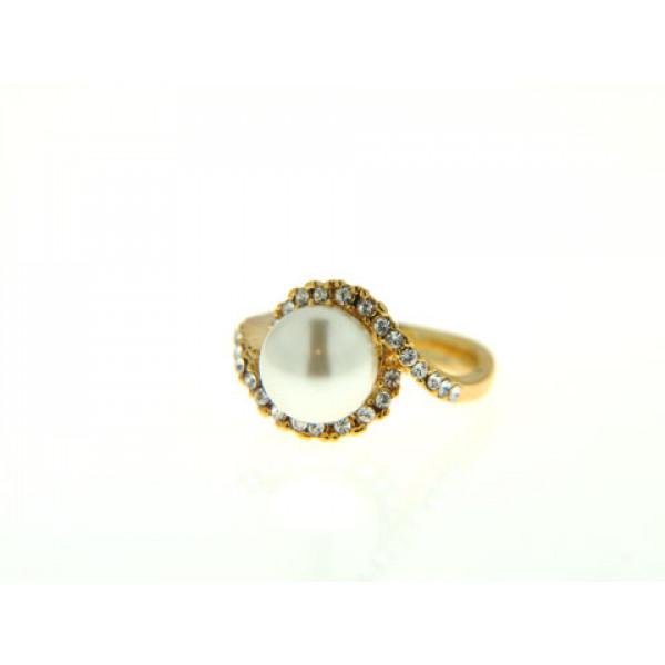 Δαχτυλίδι με Επιμετάλλωση Χρυσού, Λευκή Πέρλα και Λευκά Ζαφείρια