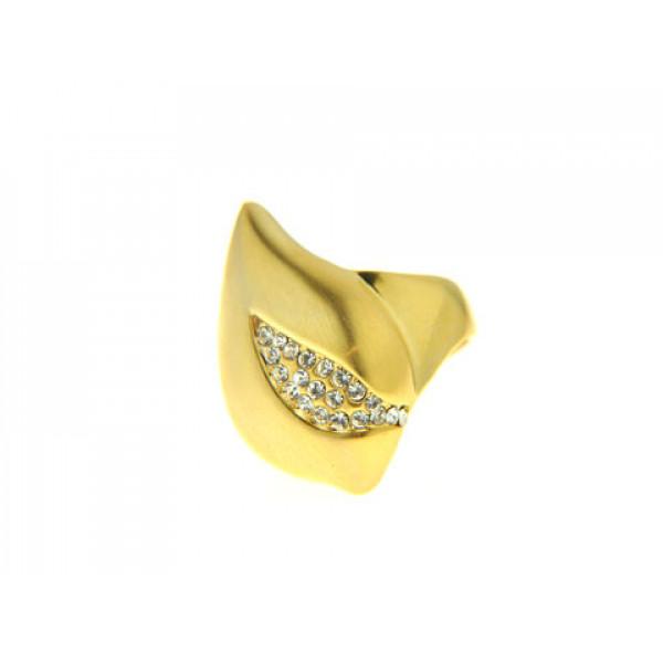 Δαχτυλίδι με Λευκά Ζαφείρια και Επιμετάλλωση Χρυσού