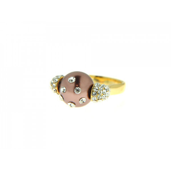 Μίνιμαλ Δαχτυλίδι με Επιμετάλλωση Χρυσού, Μπρονζέ Πέρλα και Λευκά Ζαφείρια