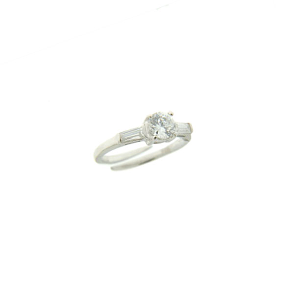 Τρίπετρο Δαχτυλίδι από Επιπλατινωμένο Ασήμι με Λευκά Ζαφείρια