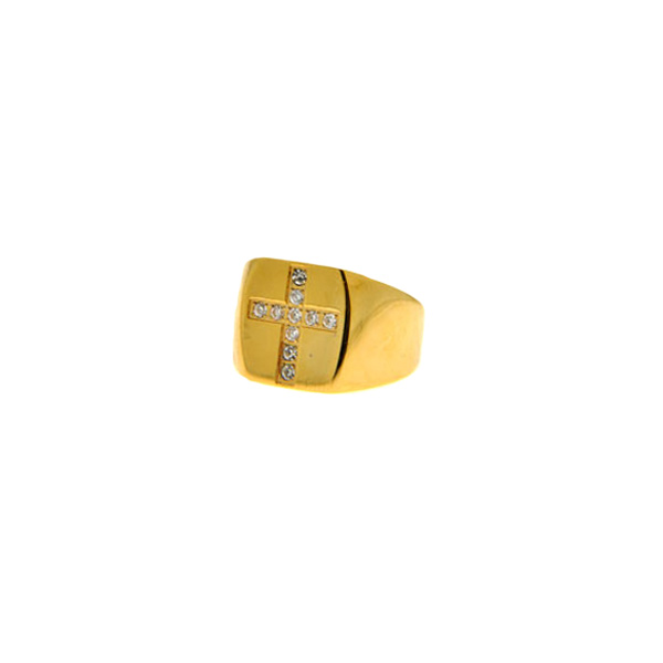 Unisex Σεβαλιέ Δαχτυλίδι με Σταυρό από Λευκά Ζαφείρια σε Επιχρυσωμένο Ατσάλι