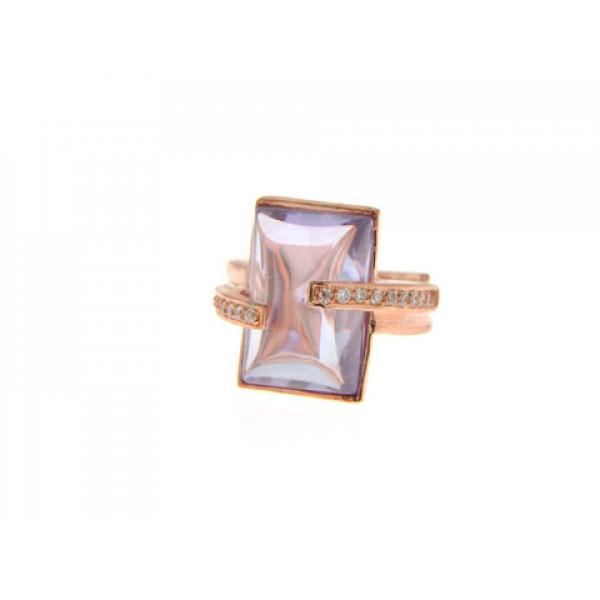 Ροζ Επιχρυσωμένο Δαχτυλίδι με Αμέθυστο και Λευκά Ζαφείρια