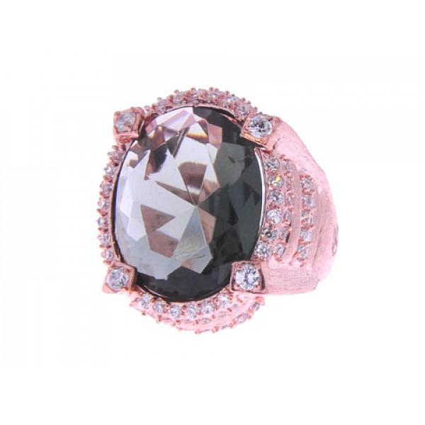 Δαχτυλίδι με Φιμέ Τοπάζι και Λευκά Ζαφείρια σε Επιμετάλλωση Ροζ Χρυσού