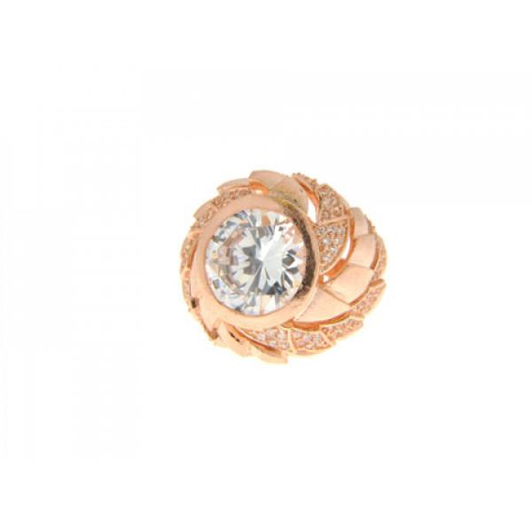 Μπομπέ Δαχτυλίδι με Επιμετάλλωση Ροζ Χρυσού και Λευκά Ζαφείρια