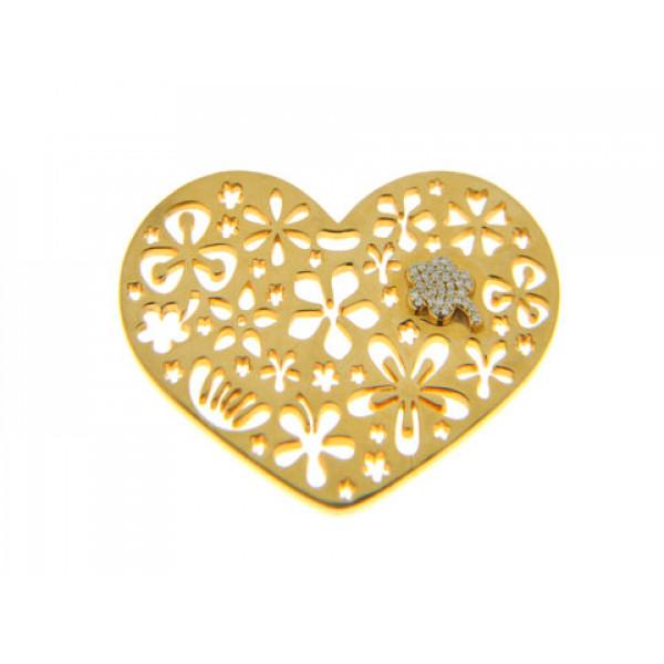 Μοτίφ Καρδιά με Μπριγιάν σε Χρυσό Κ18