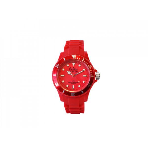 Ρολόι COLORI, σειρά Fashion Quartz Stainless Steel με περιστρεφόμενη στεφάνη με διάμετρο 40mm, αδιάβροχο στις 3atm, κοκκινο με λουράκι από κόκκινη μαλακή σιλικόνη.