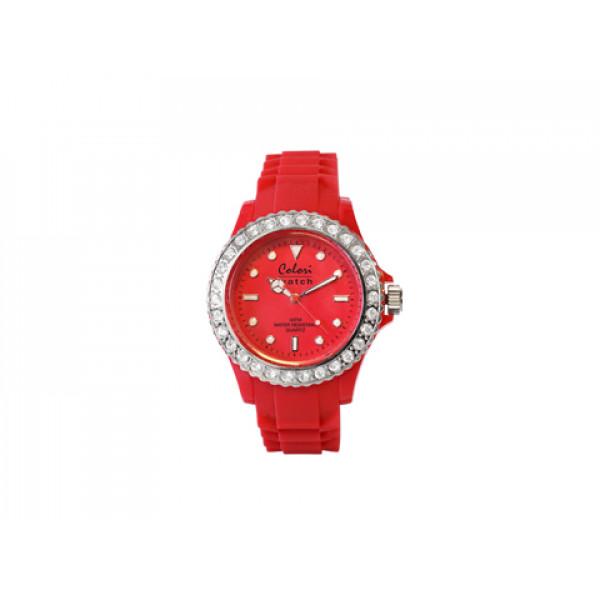 Ρολόι Colori με Λευκά Ζαφείρια με Λουράκι Κόκκινης Σιλικόνης