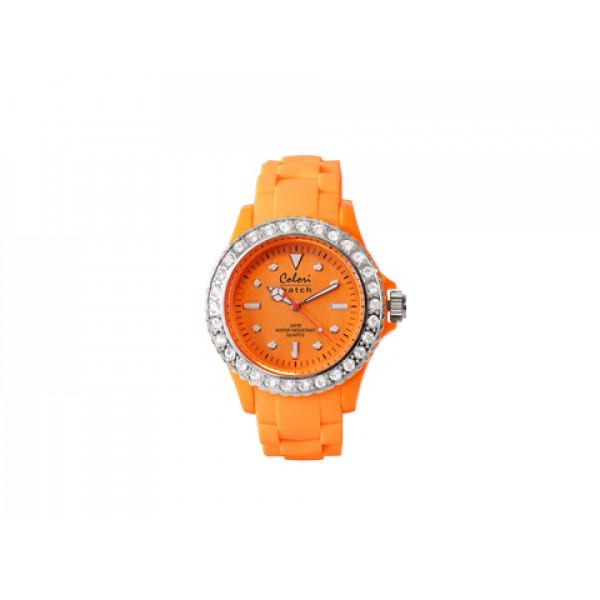 Ρολόι COLORI από τη σειρά Fashion Quartz, Stainless Steel με περιστρεφόμενη στεφάνη, διακοσμημένη με λευκά ζαφείρια με διάμετρο 40mm αδιάβροχο στις 3atm πορτοκαλί με λουράκι από πορτοκαλί μαλακή σιλικόνη.
