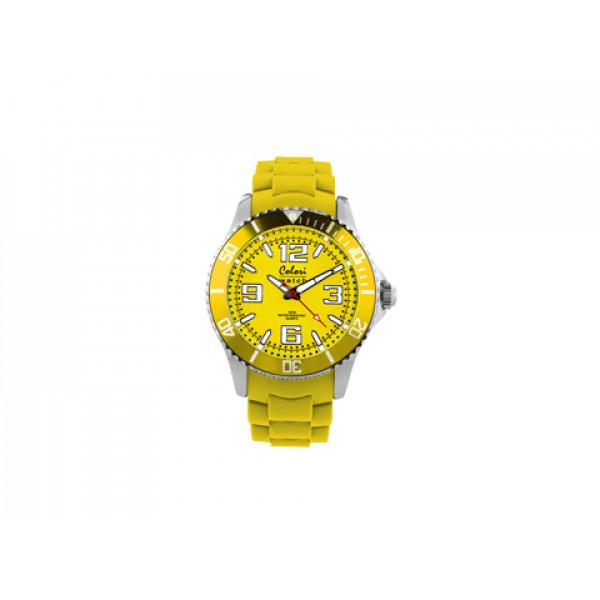 Ρολόι Colori Cool Steel με Λουράκι Κίτρινης Μαλακής Σιλικόνης