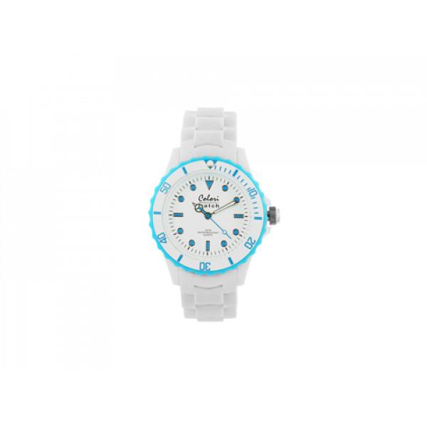 Ρολόι Colori από τη σειρά White Summer με Λευκό Λουράκι Σιλικόνης και Γαλάζια Στοιχεία