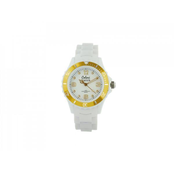 Ρολόι Colori Classic Chic με Λευκό Λουράκι Σιλικόνης και Επίχρυση Στεφάνη
