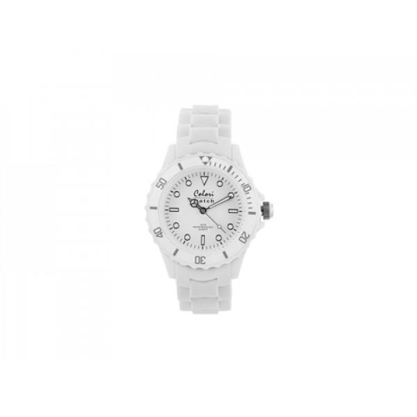 Ρολόι Colori White Summer με Λουράκι από Λευκή Σιλικόνη