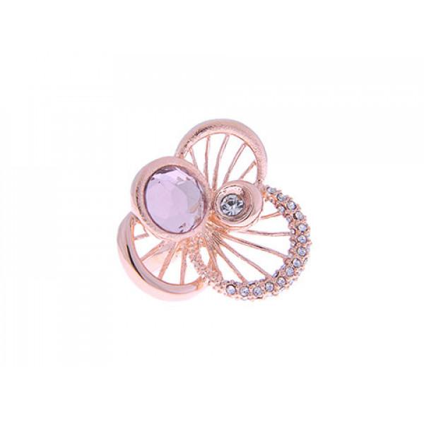 """Ροζ Επιχρυσωμένο Δαχτυλίδι """"Λουλούδι"""" με Swarovski"""