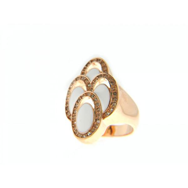 Ροζ Επιχρυσωμένο Δαχτυλίδι με Λευκό Σμάλτο