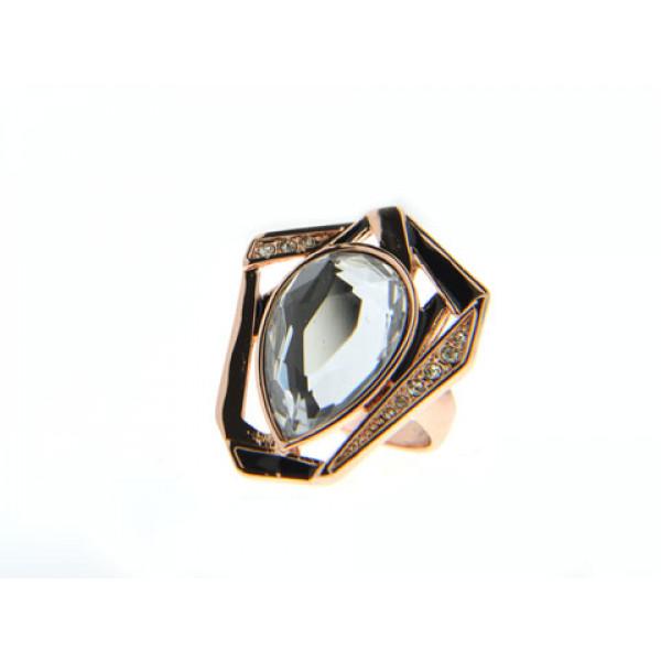 Ροζ Επιχρυσωμένο Δαχτυλίδι με Swarovski