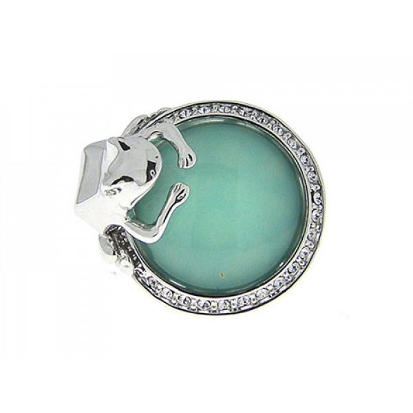Επιπλατινωμένο Δαχτυλίδι με Πράσινο Τοπάζι