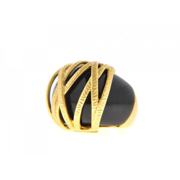 Δαχτυλίδι με Μαύρο Όνυχα και Επιμετάλλωση Χρυσού