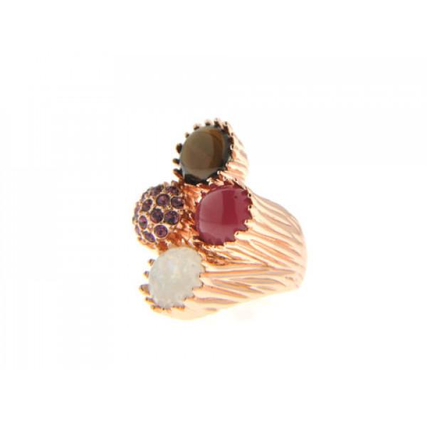 Δαχτυλίδι με Κρύσταλλα Swarovski και Επιμετάλλωση Ροζ Χρυσού
