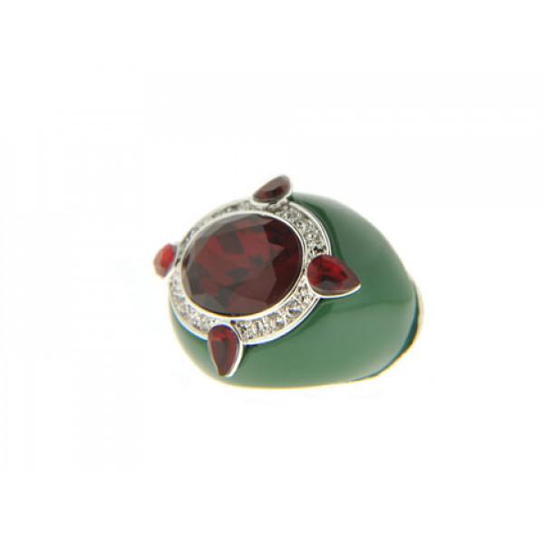 Μπομπέ Δαχτυλίδι με Κόκκινα Swarovski και Πράσινο Σμάλτο