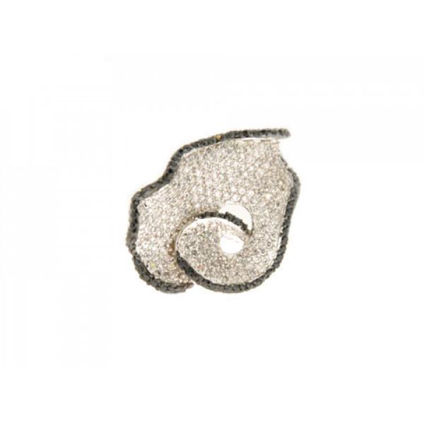 Statement Δαχτυλίδι Επιπλατινωμένο με Λευκά και Μαύρα Ζαφείρια