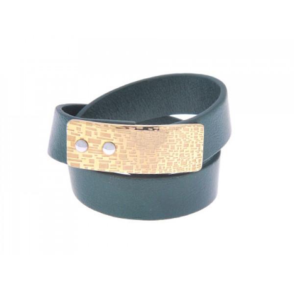 Πράσινο Δερμάτινο Βραχιόλι Διπλό με Επιχρυσωμένο Stainless Steel Κούμπωμα