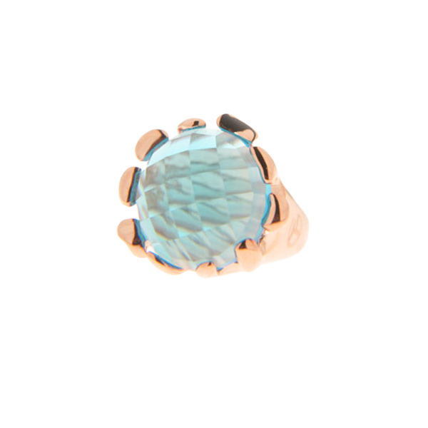 Μπομπέ Δαχτυλίδι με Aquamarine σε Επιμετάλλωση Ροζ Χρυσού