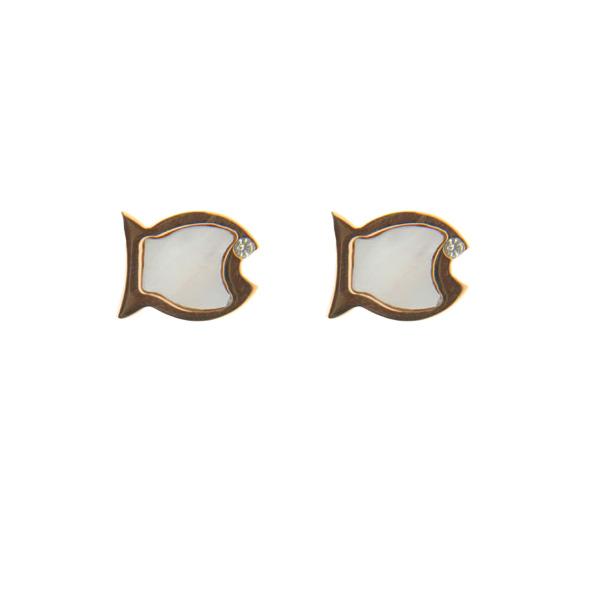 Σκουλαρίκια από Ροζ Επιχρυσωμένο Ατσάλι σε σχέδιο Ψαράκι με Mother of Pearl