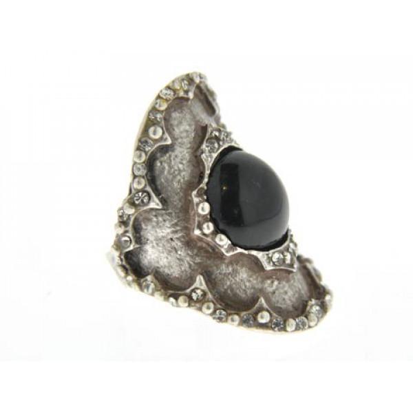 Δαχτυλίδι με Μαύρο Όνυχα και Λευκά Ζαφείρια