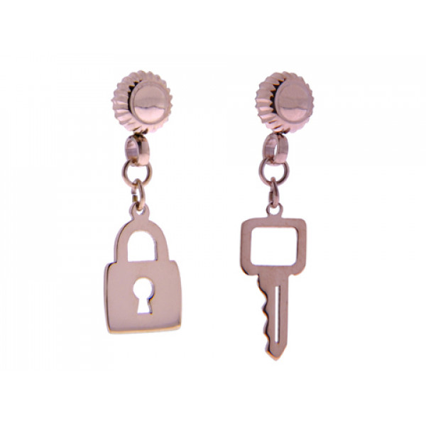 Ροζ επιχρυσωμένο σετ κολιέ και σκουλαρίκια