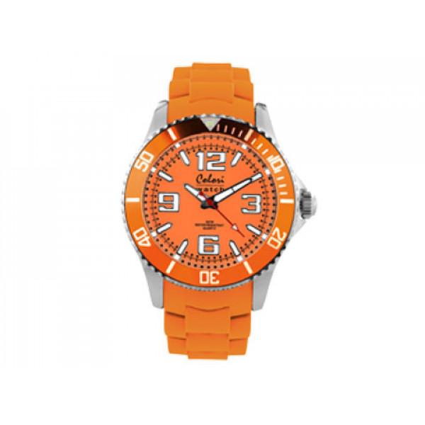 Ρολόι Colori με Πορτοκαλί Λουράκι Σιλικόνης