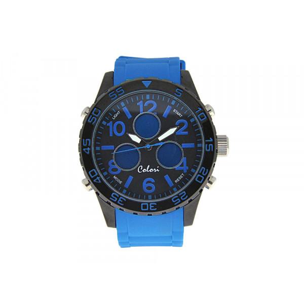 Ρολόι Colori με Μπλε Λουράκι Καουτσούκ