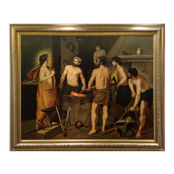 """Ανυπόγραφος πίνακας """"Το σιδηρουργείο του Ήφαιστου"""" αντίγραφο του Velasquez"""