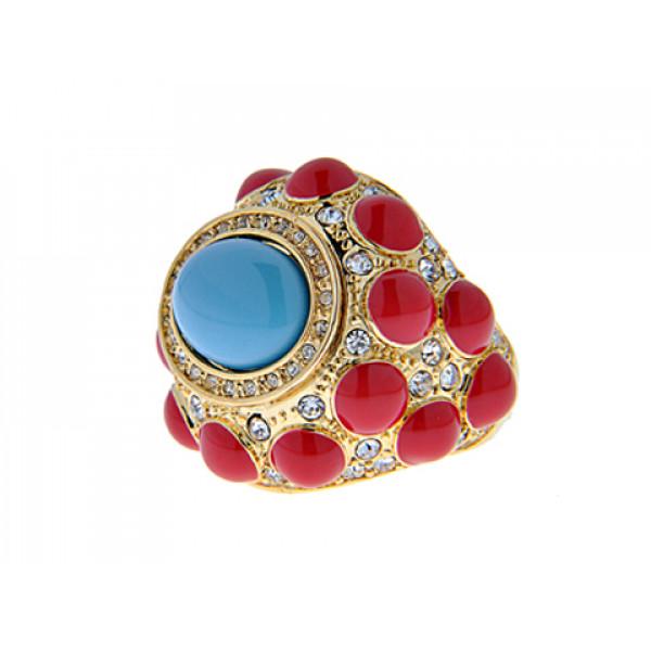Μπομπέ Δαχτυλίδι με Επιμετάλλωση Χρυσού, Κοραλί Σμάλτα και Τυρκουάζ