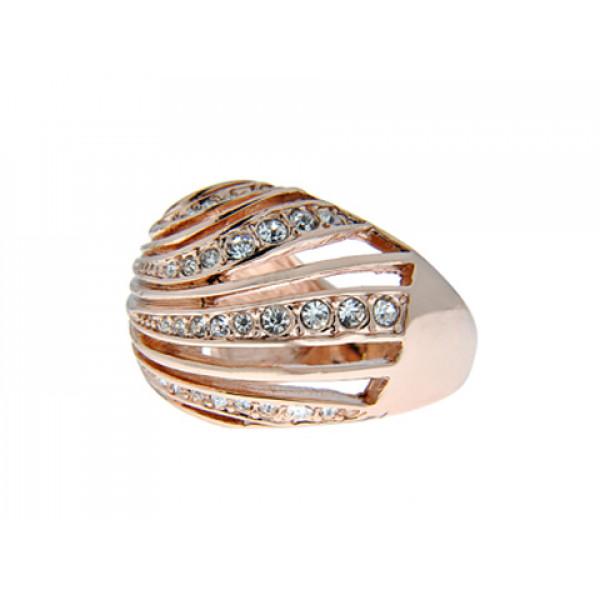 Ροζ Επιχρυσωμένο Μπομπέ Δαχτυλίδι Διάτρητο με Λευκά Ζαφείρια