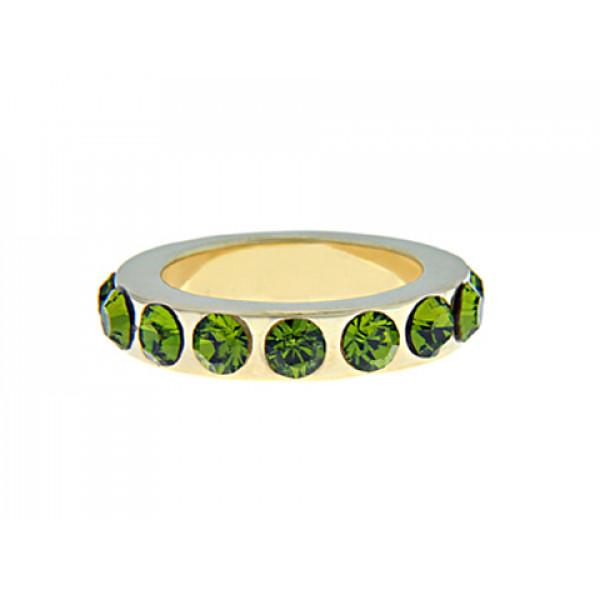 Επίχρυσο Δαχτυλίδι Ολόβερο με Πράσινα Swarovski