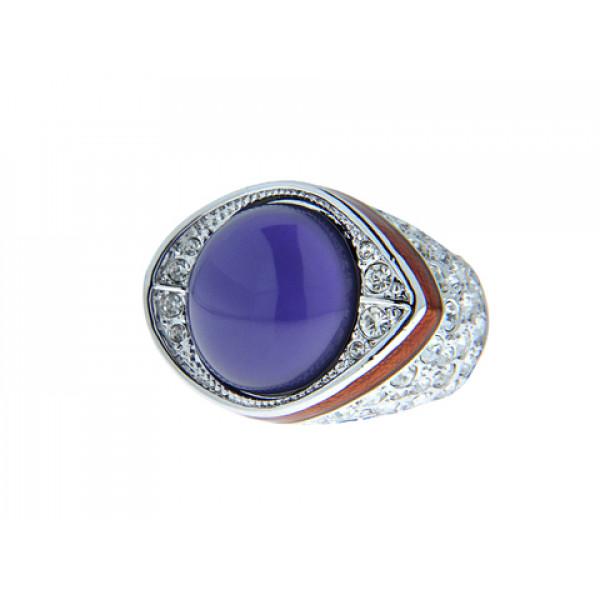 Μπομπέ Επιπλατινωμένο Δαχτυλίδι διακοσμημένο με Swarovski και Αμέθυστο