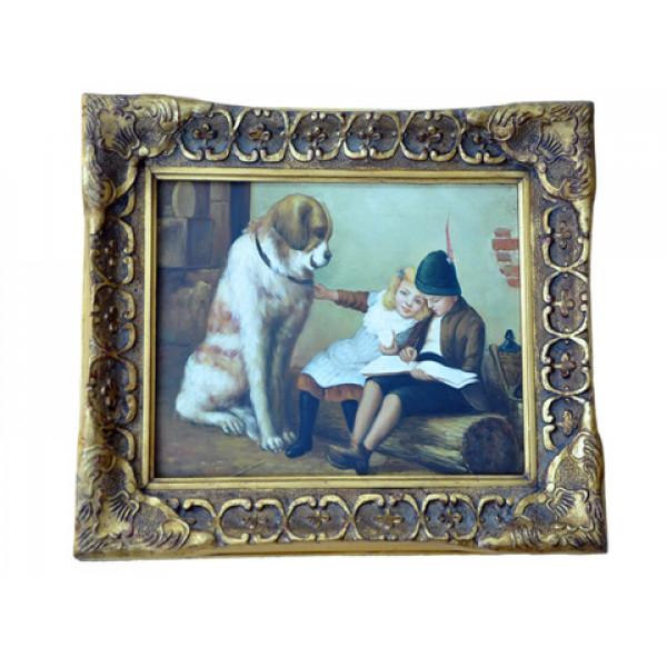 """Πίνακας """"Παιδάκια με σκύλο"""""""