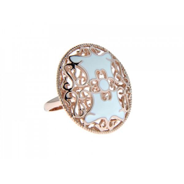 Ροζ Επιχρυσωμένο Δαχτυλίδι Διάτρητο με Λευκά Σμάλτα