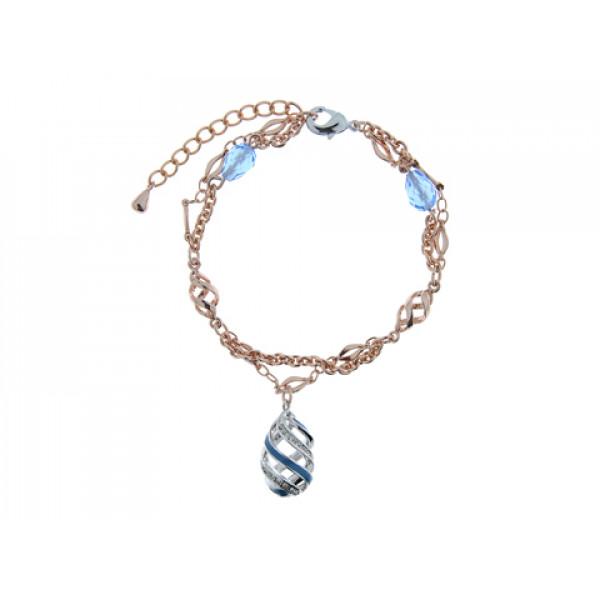 Δίχρωμο Βραχιόλι με Επιμετάλλωση Πλατίνας και Ροζ Χρυσού με Μπλε Σμάλτα και Aquamarines