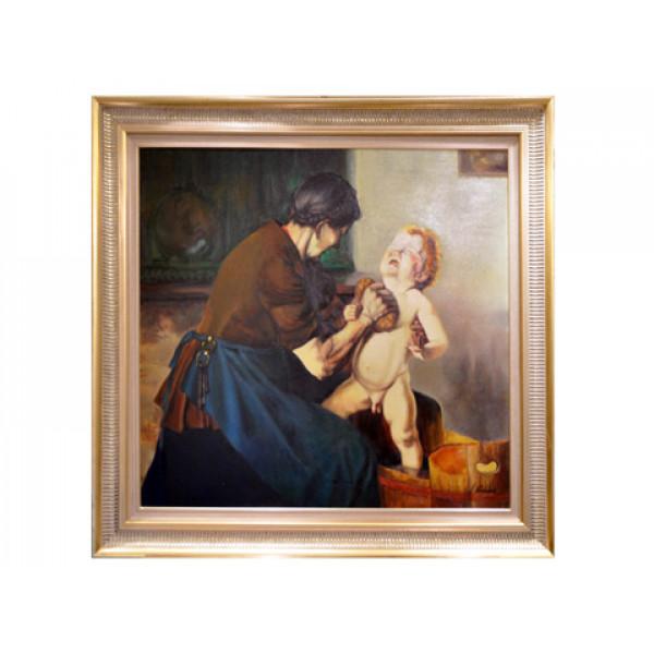 """Πίνακας - Ελαιογραφία σε Καμβά """"Γιαγιά που πλένει το Εγγονάκι"""""""