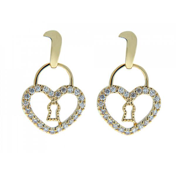 Σκουλαρίκια με Καρδιά Λουκέτο, Επιμετάλλωση Χρυσού και Λευκά Ζαφείρια