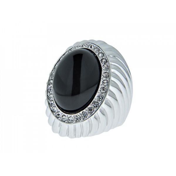 Επιπλατινωμένο Δαχτυλίδι Μπομπέ με Μαύρο Όνυχα